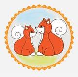 Etykietki Fox dziecko i mama Fotografia Stock