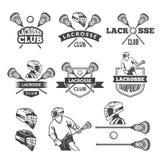 Etykietki lacrosse klub Wektorowi monochromów obrazki ustawiający royalty ilustracja