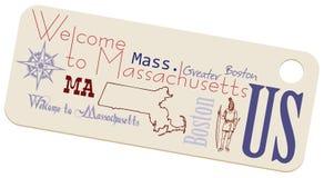 Etykietki powitanie Massachusetts royalty ilustracja