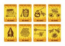 Etykietki projektują dla pakować miodowi produkty Ilustracje miód i honeycomb ilustracji