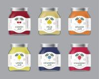 Etykietki, wiśnia, bonkreta, pomarańcze, cytryna, dewberry, truskawkowy dżem przylepiają etykietkę i pakunki Premia projekt Płask ilustracja wektor