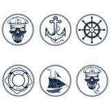 etykietki z łodzią, kapitan czaszka, koło, kotwica i Zdjęcie Stock
