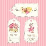 Etykietki z ciastko ilustracją Wektorowa ręka rysować etykietki ustawiają z akwareli pluśnięciami Słodki wektorowy imbiru dom ilustracji