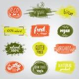 Etykietki z jarskimi i surowymi karmowej diety projektami Żywność organiczna elementy i ustawiający posiłku i napoju, kawiarnia,  ilustracji