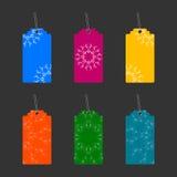 Etykietki z kolorowymi ornamentami ilustracji
