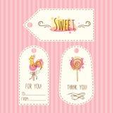 Etykietki z lizak ilustracją Wektorowa ręka rysować etykietki ustawiają z akwareli pluśnięciami Słodki cukierku projekt ilustracja wektor