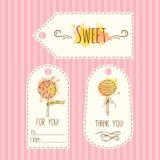 Etykietki z lizak ilustracją Wektorowa ręka rysować etykietki ustawiają z akwareli pluśnięciami Słodki cukierku projekt ilustracji
