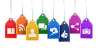 Etykietki z ogólnospołecznymi medialnymi ikonami Pojęcie Zdjęcie Royalty Free