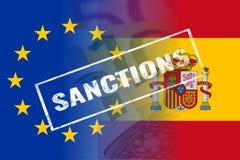 EU西班牙下垂,认可邮票 库存照片
