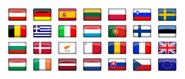EU. 28 EU Countries International Flag Stock Images