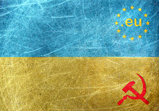 EU against Russia motif on the flag of Ukraine Stock Photography