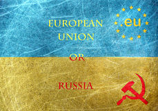 EU against Russia motif on the flag of Ukraine Stock Photo