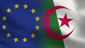 EU and Algeria Realistic Half Flags Together vector illustration