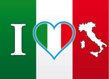 Eu amo a bandeira de Italia Fotografia de Stock Royalty Free