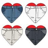Eu amo calças de brim Imagem de Stock