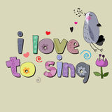 Eu amo cantar Imagem de Stock Royalty Free