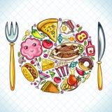 Eu amo comer a série ilustração do vetor