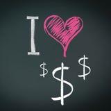 Eu amo dólares Imagem de Stock Royalty Free