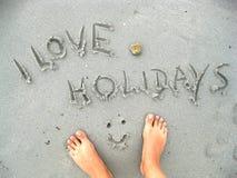 Eu amo feriados Fotografia de Stock Royalty Free