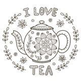 Eu amo a ilustração do chá para o livro para colorir ou a cópia Fotos de Stock