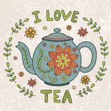 Eu amo a ilustração do vintage do chá ilustração royalty free