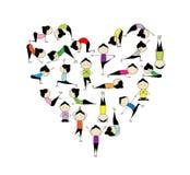 Eu amo a ioga! Forma do coração para seu projeto ilustração do vetor