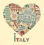 Eu amo Italy ilustração stock