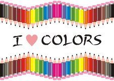 Eu amo lápis das cores ilustração do vetor