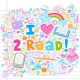 Eu amo ler esboçado de volta aos Doodles da escola Imagens de Stock Royalty Free