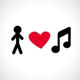 Eu amo a música Foto de Stock