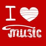 Eu amo a música ilustração desenhado à mão do vetor Foto de Stock