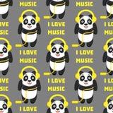 Eu amo a música Teste padrão sem emenda com a panda engraçada com fones de ouvido em um fundo cinzento Fotografia de Stock