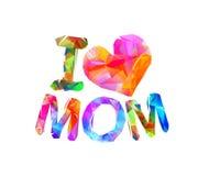 Eu amo a mamã Letras triangulares do vetor Fotografia de Stock Royalty Free