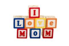 Eu amo a mamã no branco com trajeto Imagem de Stock Royalty Free