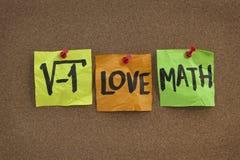 Eu amo a matemática - conceito na placa de boletim Imagem de Stock