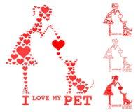 Eu amo meu animal de estimação Coração da suficiência da menina e do cão ilustração stock
