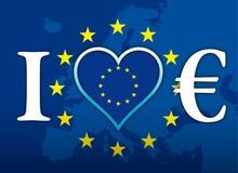 Eu amo a moeda de Europa e de Euro, bandeira, ilustração com euro- símbolo Fotografia de Stock