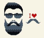 Eu amo o bigode & o homem do bigode Imagens de Stock Royalty Free