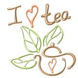 Eu amo o cartão do chá Imagens de Stock