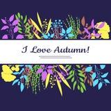 Eu amo o cartão do outono Ilustração colorida Fotografia de Stock