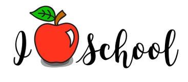 Eu amo o cartaz da escola com maçã Imagem de Stock Royalty Free