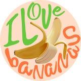 Eu amo o cartaz do vetor das bananas Fotos de Stock Royalty Free