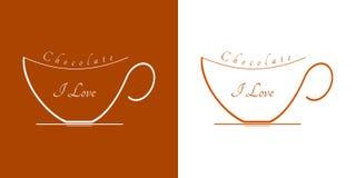 Eu amo o chocolate - um copo do chocolate quente ilustração do vetor