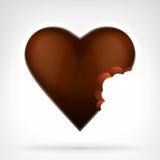 Eu amo o conceito dos doces como o projeto marrom mordido do coração do chocolate ilustração royalty free