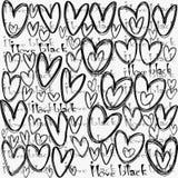 Eu amo o conceito preto, com corações estilizados ilustração do vetor