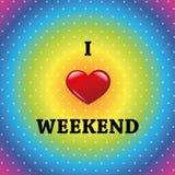 Eu amo o fundo colorido do fim de semana ilustração stock