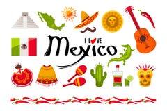 Eu amo o grupo do ícone de México Fotografia de Stock Royalty Free
