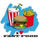 Eu amo o projeto de cartão do fast food Foto de Stock Royalty Free