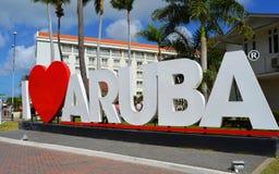 EU AMO o sinal do marco de ARUBA Imagem de Stock Royalty Free