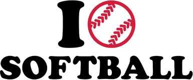 Eu amo o softball com bola ilustração do vetor